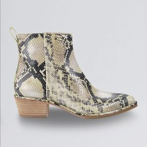 Cole Haan Reilly Snake Embossed Leather Booties